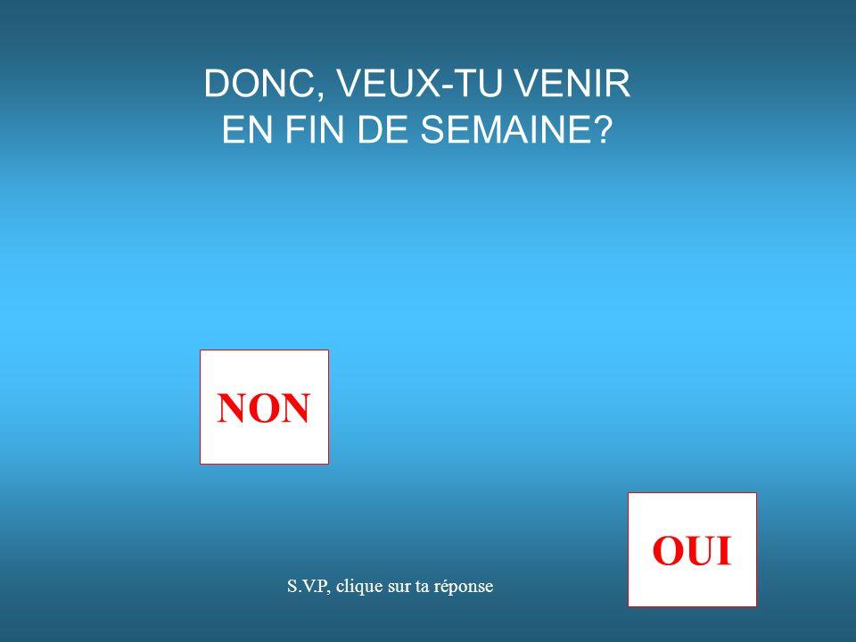 NON OUI DONC, VEUX-TU VENIR EN FIN DE SEMAINE? S.V.P, clique sur ta réponse
