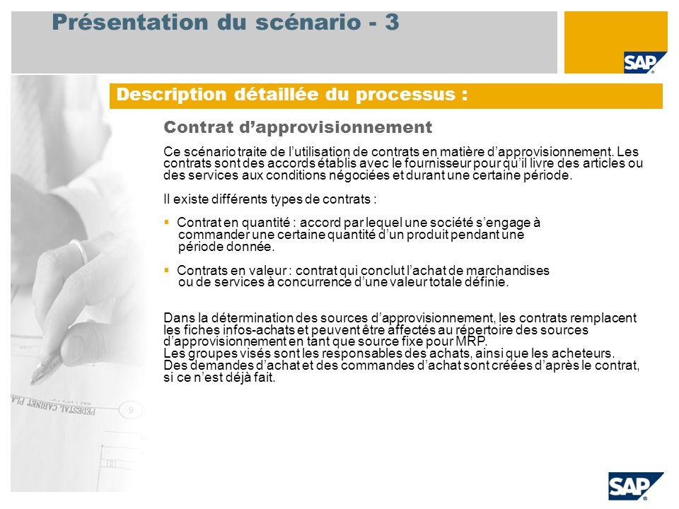 Présentation du scénario - 3 Description détaillée du processus : Contrat dapprovisionnement Ce scénario traite de lutilisation de contrats en matière