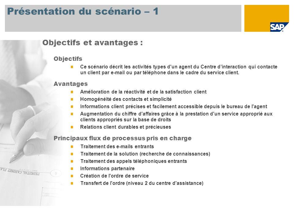 Présentation du scénario – 1 Objectifs Ce scénario décrit les activités types d'un agent du Centre dinteraction qui contacte un client par e-mail ou p