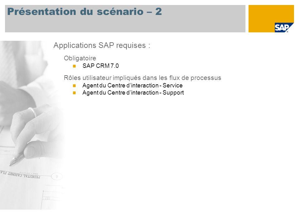 Présentation du scénario – 2 Obligatoire SAP CRM 7.0 Rôles utilisateur impliqués dans les flux de processus Agent du Centre dinteraction - Service Age