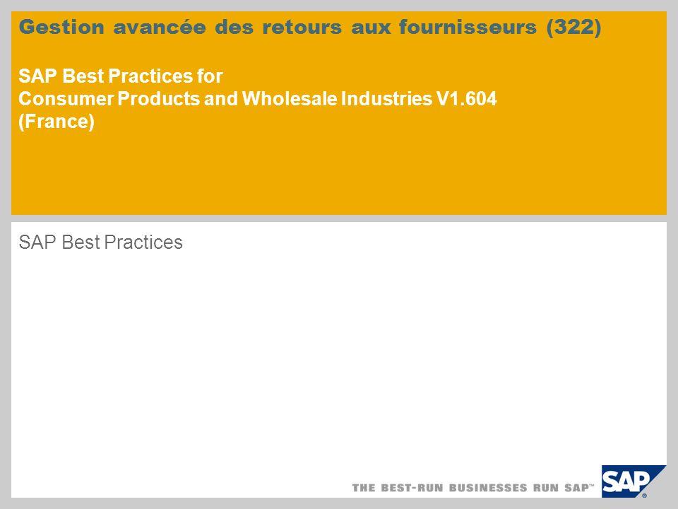 Gestion avancée des retours aux fournisseurs (322) SAP Best Practices for Consumer Products and Wholesale Industries V1.604 (France) SAP Best Practice