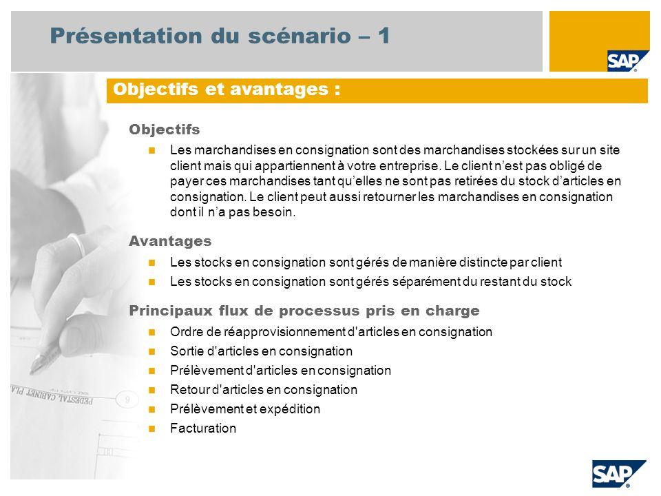 Présentation du scénario – 1 Objectifs Les marchandises en consignation sont des marchandises stockées sur un site client mais qui appartiennent à vot