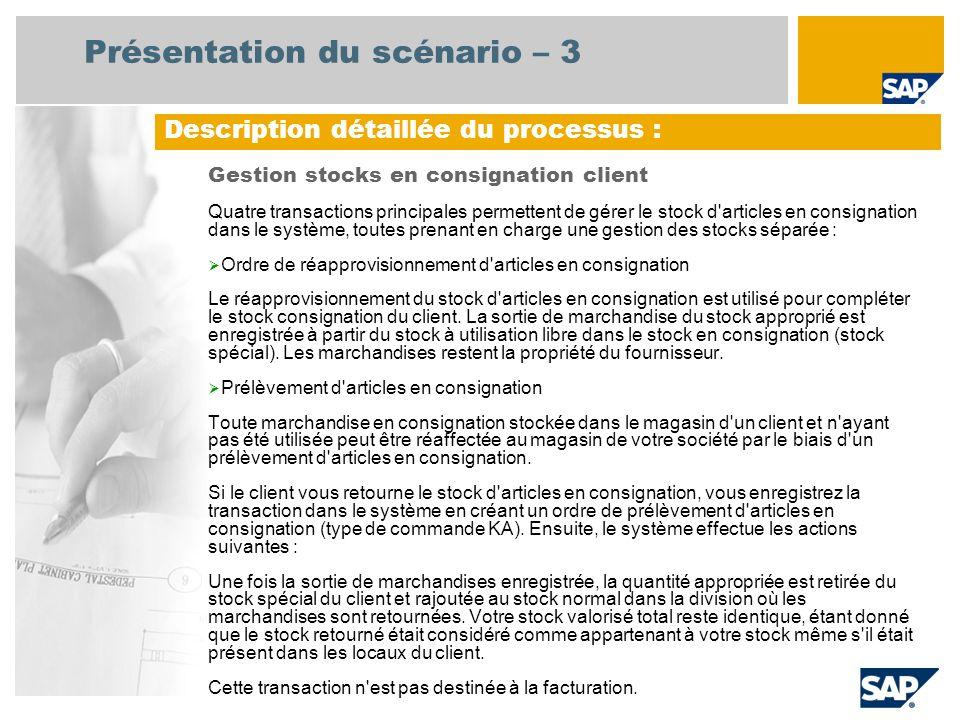 Présentation du scénario – 3 Gestion stocks en consignation client Quatre transactions principales permettent de gérer le stock d'articles en consigna