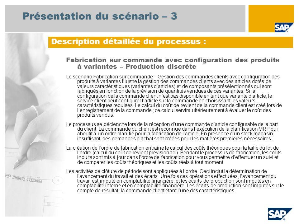 Présentation du scénario – 3 Fabrication sur commande avec configuration des produits à variantes – Production discrète Le scénario Fabrication sur co