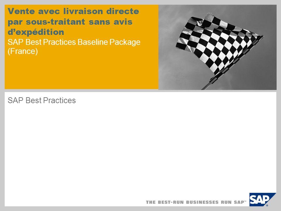 Vente avec livraison directe par sous-traitant sans avis dexpédition SAP Best Practices Baseline Package (France) SAP Best Practices