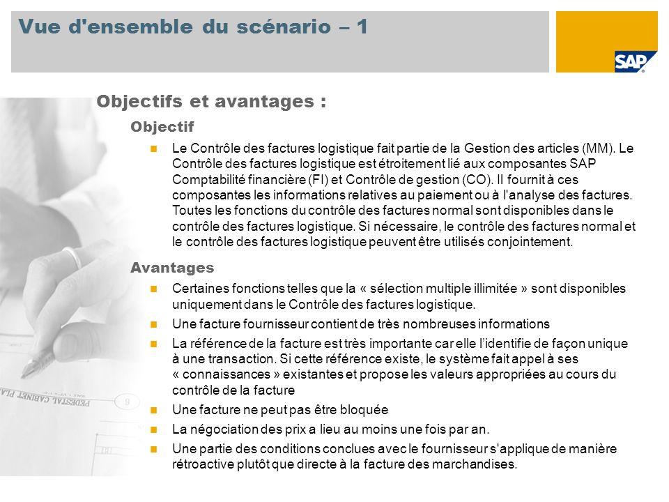 Vue d'ensemble du scénario – 1 Objectif Le Contrôle des factures logistique fait partie de la Gestion des articles (MM). Le Contrôle des factures logi