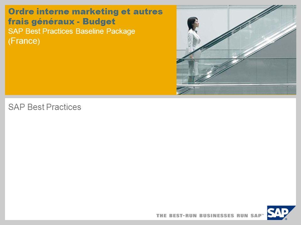 Présentation du scénario – 1 Objectifs Les ordres internes servent à budgéter, collecter et imputer les coûts des projets comme les campagnes marketing ou d autres projets internes.
