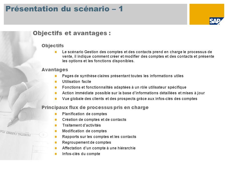 Présentation du scénario – 1 Objectifs Le scénario Gestion des comptes et des contacts prend en charge le processus de vente, il indique comment créer