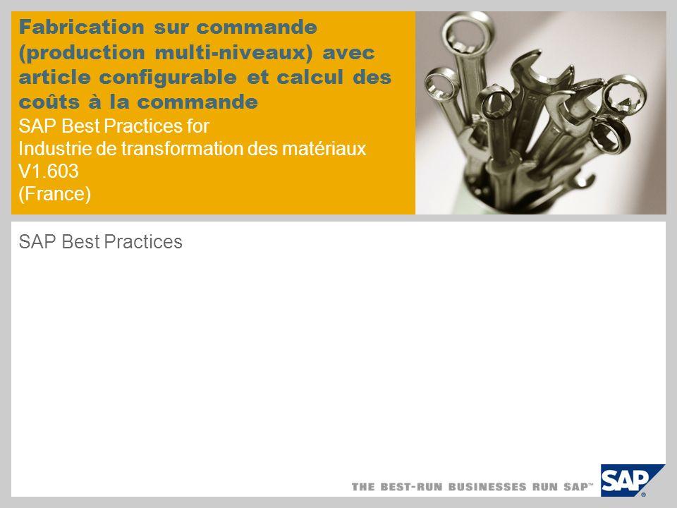 Fabrication sur commande (production multi-niveaux) avec article configurable et calcul des coûts à la commande SAP Best Practices for Industrie de transformation des matériaux V1.603 (France) SAP Best Practices