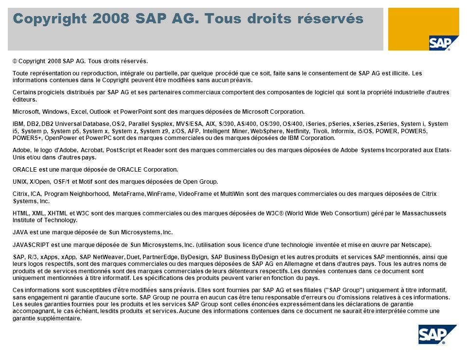 Copyright 2008 SAP AG. Tous droits réservés © Copyright 2008 SAP AG. Tous droits réservés. Toute représentation ou reproduction, intégrale ou partiell