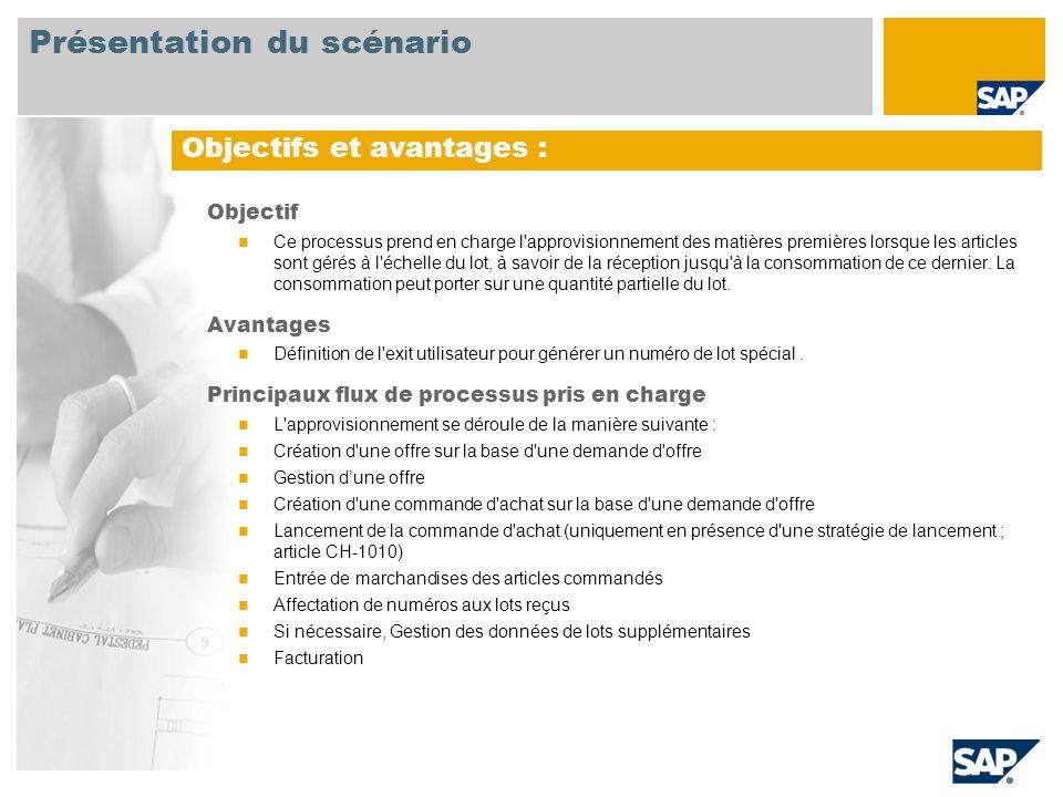 Obligatoire SAP ECC 6.03 Rôles utilisateurs impliqu é s dans les flux de processus Acheteur Magasinier Comptable fournisseur Applications SAP requises : Présentation du scénario
