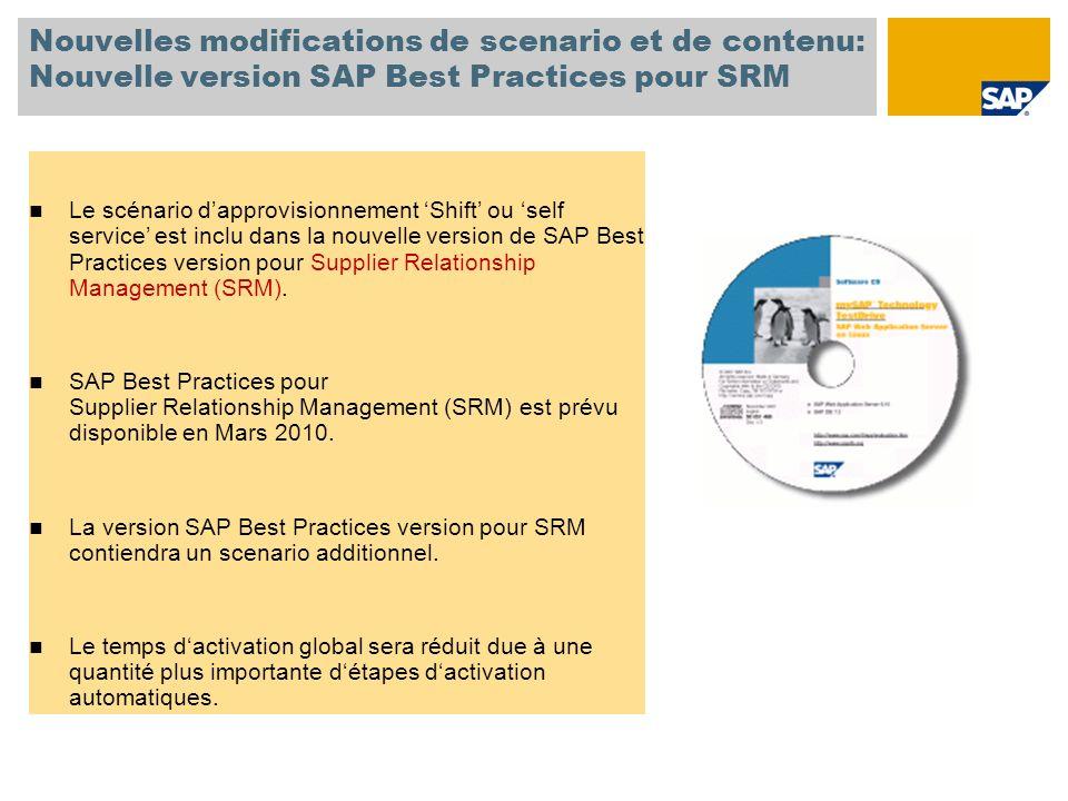 Nouvelles modifications de scenario et de contenu: Nouvelle version SAP Best Practices pour SRM Le scénario dapprovisionnement Shift ou self service e