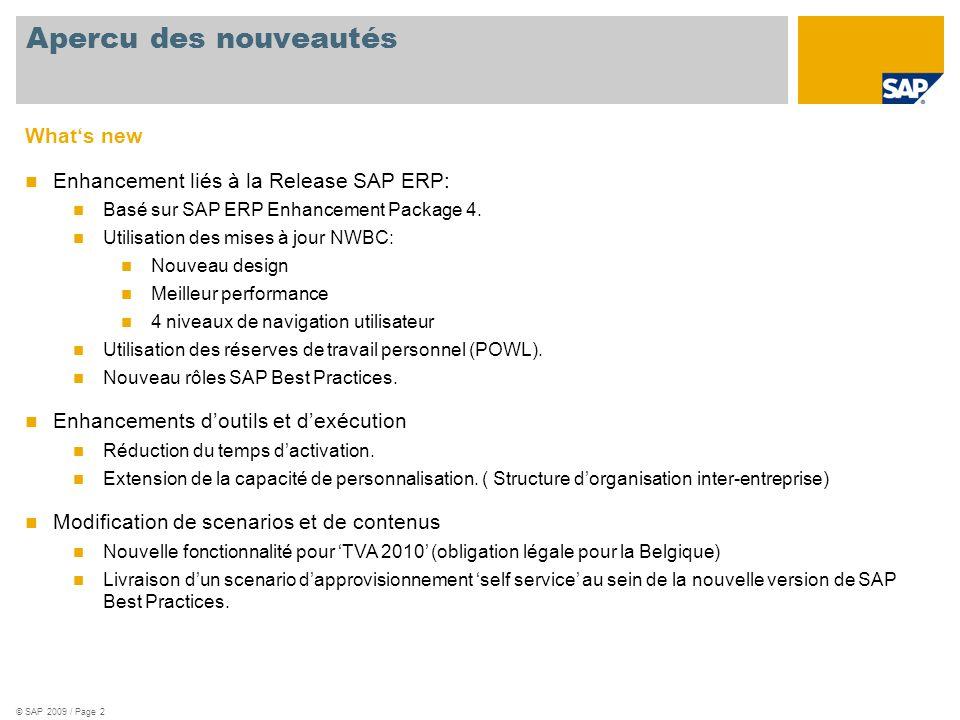 © SAP 2009 / Page 2 Whats new Enhancement liés à la Release SAP ERP: Basé sur SAP ERP Enhancement Package 4. Utilisation des mises à jour NWBC: Nouvea