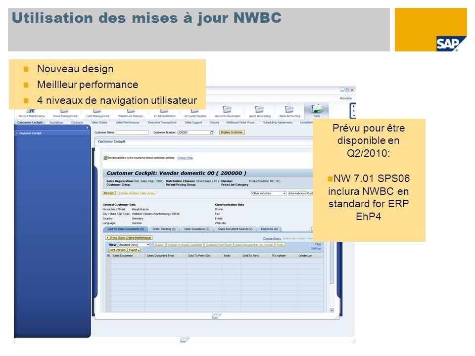 Utilisation des mises à jour NWBC Nouveau design Meillleur performance 4 niveaux de navigation utilisateur Prévu pour être disponible en Q2/2010: NW 7