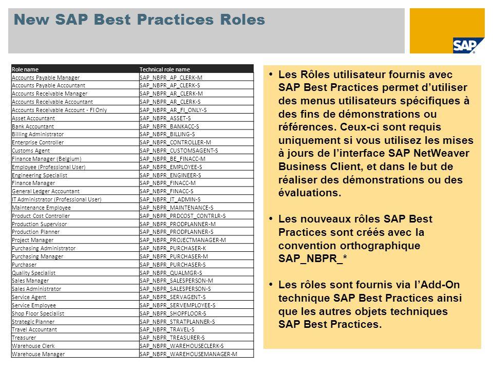 New SAP Best Practices Roles Les Rôles utilisateur fournis avec SAP Best Practices permet dutiliser des menus utilisateurs spécifiques à des fins de d
