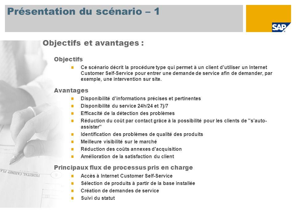 Présentation du scénario – 1 Objectifs Ce scénario décrit la procédure type qui permet à un client d'utiliser un Internet Customer Self-Service pour e
