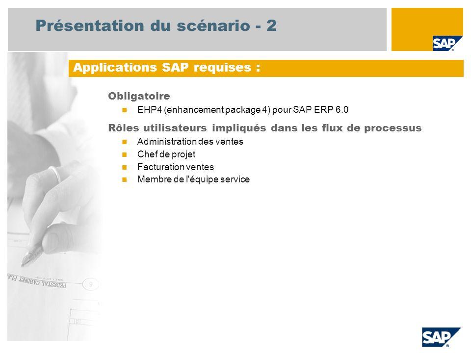 Présentation du scénario - 2 Obligatoire EHP4 (enhancement package 4) pour SAP ERP 6.0 Rôles utilisateurs impliqués dans les flux de processus Administration des ventes Chef de projet Facturation ventes Membre de l équipe service Applications SAP requises :