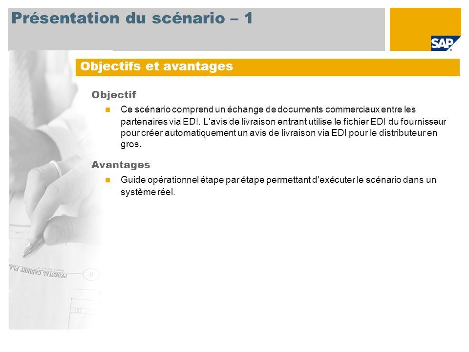 Présentation du scénario – 1 Objectif Ce scénario comprend un échange de documents commerciaux entre les partenaires via EDI. L'avis de livraison entr