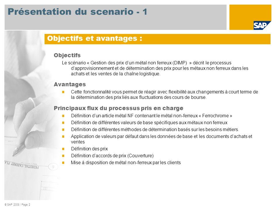 © SAP 2008 / Page 2 Objectifs Le scénario « Gestion des prix dun métal non ferreux (DIMP) » décrit le processus dapprovisionnement et de détermination