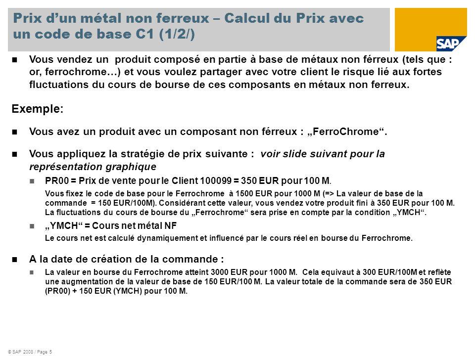 © SAP 2008 / Page 6 Prix dun métal non ferreux – Calcul du Prix avec un code de base C1 (2/2/) EUR 500 450 400 350 300 250 200 150 100 50 0 Date de prix initial Prix net final (PR00) incluant le cours NF actuel du Ferrochrome Prix Net initial (PR00) incluant la valeur de base NF Valeur de base (valeur NF incluse dans la prix catalogue) Valeure nette (YMCH) incluant les fluctuations du cours NF Date de création de la commande client REMARQUES : Lors du calcul du cours net, un arrondi au 3 ème décimal est appliqué YMCH peut aussi être négatif si le cours descend en dessous de la valeur initiale négociée de 1500/1000M.