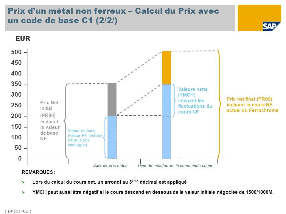 © SAP 2008 / Page 6 Prix dun métal non ferreux – Calcul du Prix avec un code de base C1 (2/2/) EUR 500 450 400 350 300 250 200 150 100 50 0 Date de pr