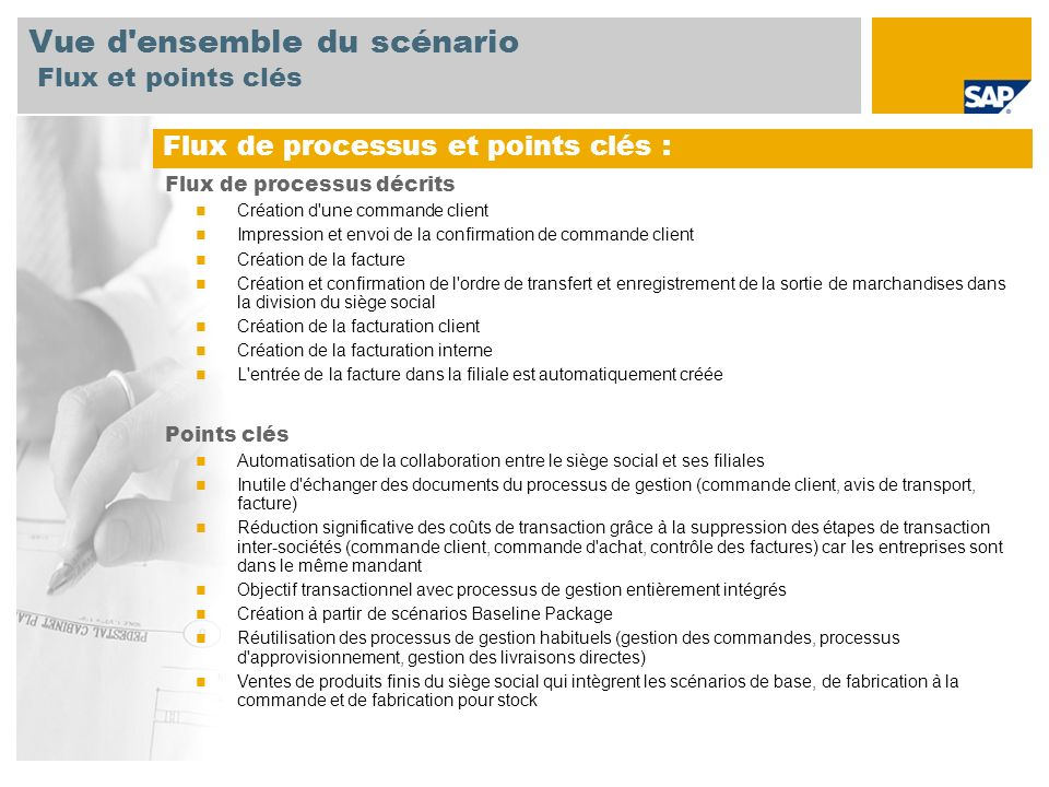 Vue d'ensemble du scénario Flux et points clés Flux de processus et points clés : Flux de processus décrits Création d'une commande client Impression