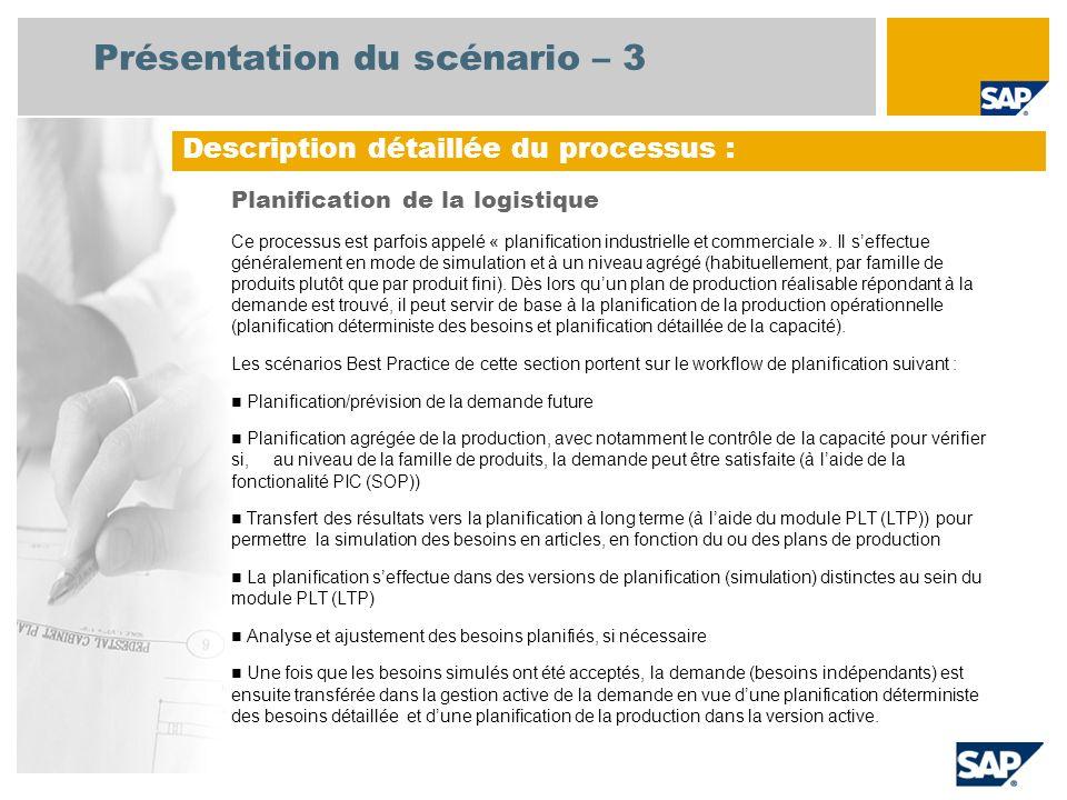 Présentation du scénario – 3 Planification de la logistique Ce processus est parfois appelé « planification industrielle et commerciale ». Il seffectu