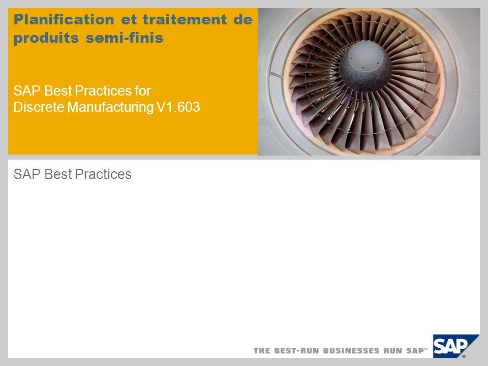 Planification et traitement de produits semi-finis SAP Best Practices for Discrete Manufacturing V1.603 SAP Best Practices