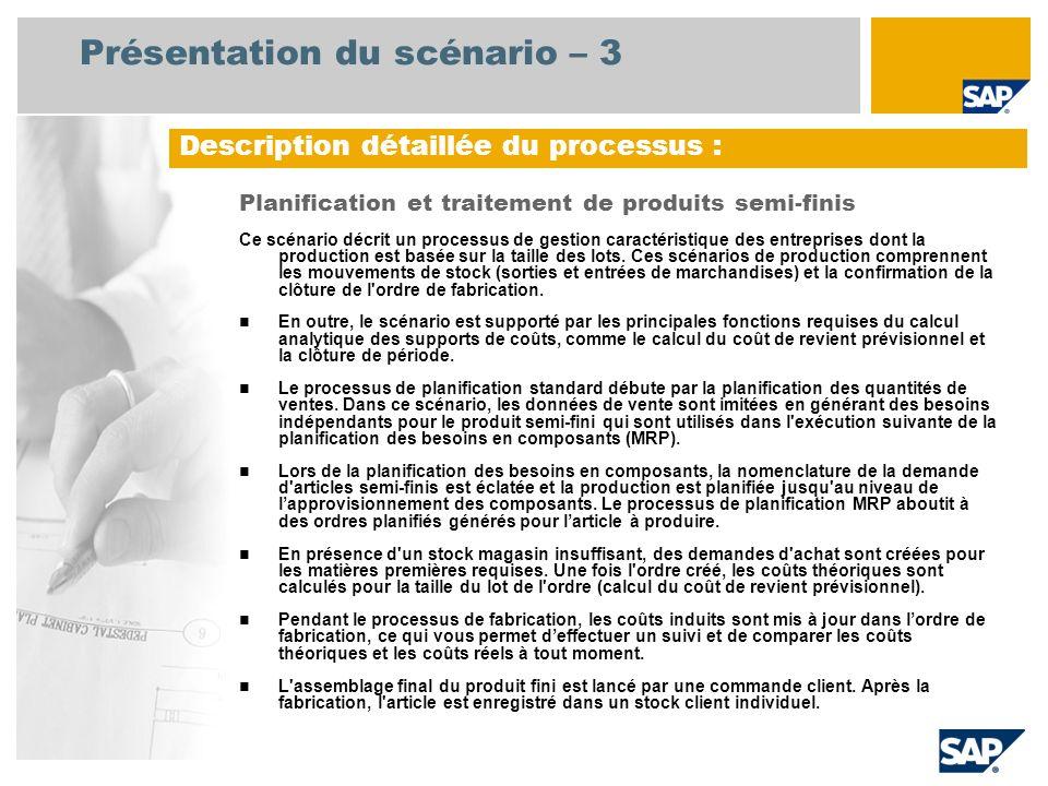 Présentation du scénario – 3 Planification et traitement de produits semi-finis Ce scénario décrit un processus de gestion caractéristique des entrepr