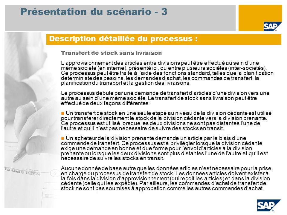 Présentation du scénario - 3 Transfert de stock sans livraison Lapprovisionnement des articles entre divisions peut être effectué au sein dune même so
