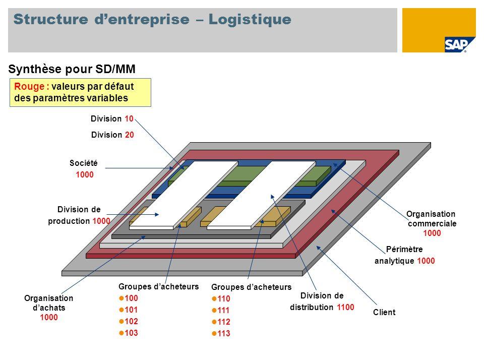 Structure dentreprise – Logistique Synthèse pour SD/MM Client Périmètre analytique 1000 Société 1000 Organisation dachats 1000 Groupes dacheteurs 100
