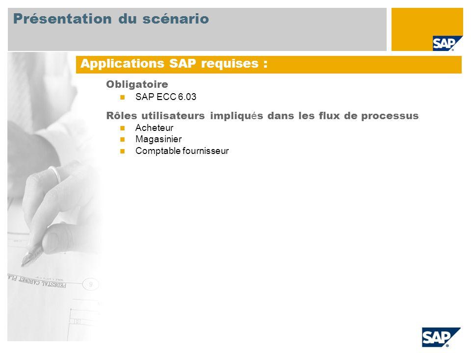 Obligatoire SAP ECC 6.03 Rôles utilisateurs impliqu é s dans les flux de processus Acheteur Magasinier Comptable fournisseur Applications SAP requises