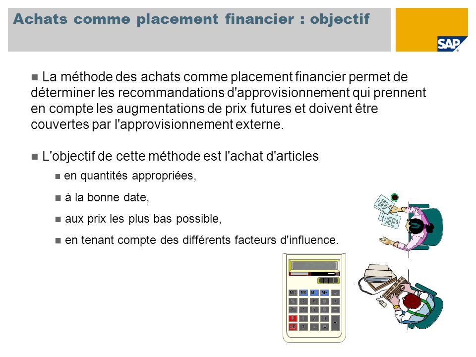 Achats comme placement financier : objectif La méthode des achats comme placement financier permet de déterminer les recommandations d'approvisionneme