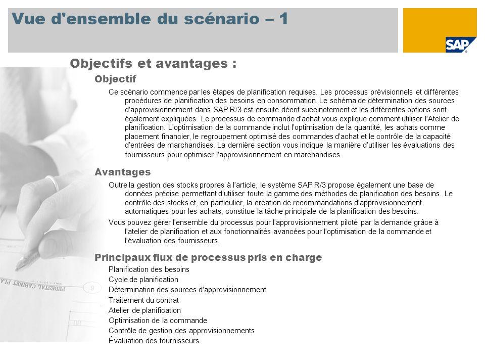 Vue d'ensemble du scénario – 1 Objectif Ce scénario commence par les étapes de planification requises. Les processus prévisionnels et différentes proc