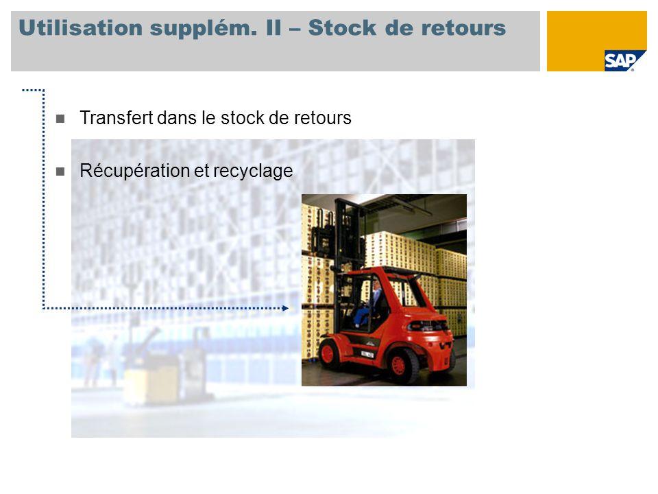 Utilisation supplém. II – Stock de retours n Transfert dans le stock de retours n Récupération et recyclage