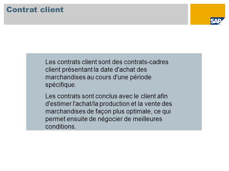 Contrat client Les contrats client sont des contrats-cadres client présentant la date d'achat des marchandises au cours d'une période spécifique. Les