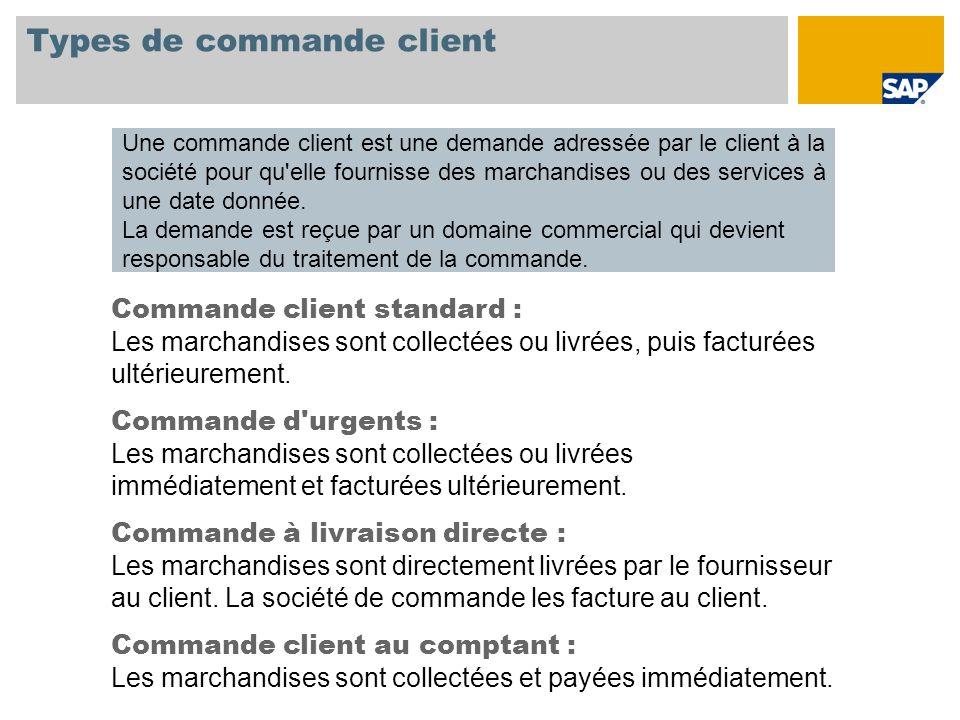Types de commande client Une commande client est une demande adressée par le client à la société pour qu'elle fournisse des marchandises ou des servic