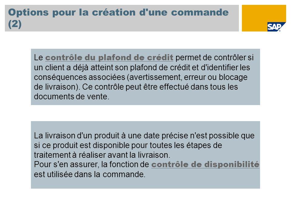 Options pour la création d'une commande (2) Le contrôle du plafond de crédit permet de contrôler si un client a déjà atteint son plafond de crédit et