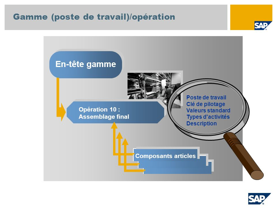 Gamme (poste de travail)/opération En-tête gamme Opération 10 : Assemblage final Composants articles Poste de travail Clé de pilotage Valeurs standard