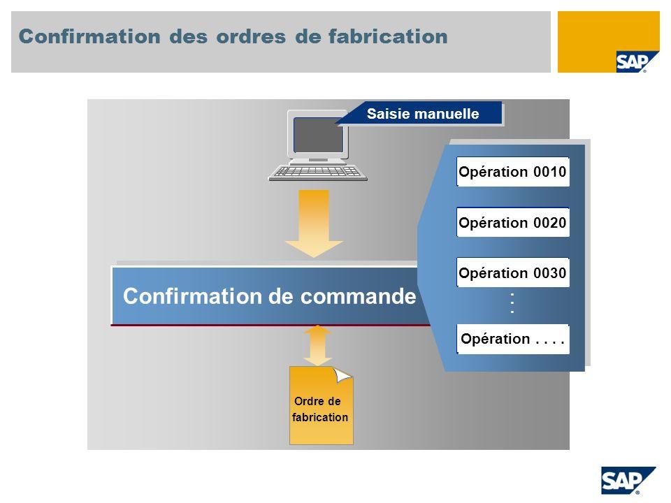 Confirmation de commande...... Saisie manuelle Confirmation des ordres de fabrication Ordre de fabrication Opération 0010 Opération 0020 Opération 003