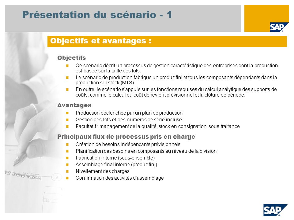 Présentation du scénario - 2 Obligatoire EHP3 for SAP ERP 6.0 Rôles utilisateurs impliqués dans les flux de processus Planificateur de la production Expert fabrication Magasinier Responsable budgétaire stratégique Applications SAP requises :