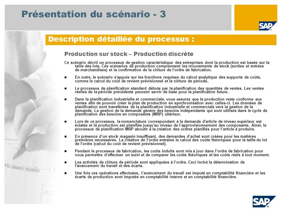 Présentation du scénario - 3 Production sur stock – Production discrète Ce scénario décrit un processus de gestion caractéristique des entreprises don