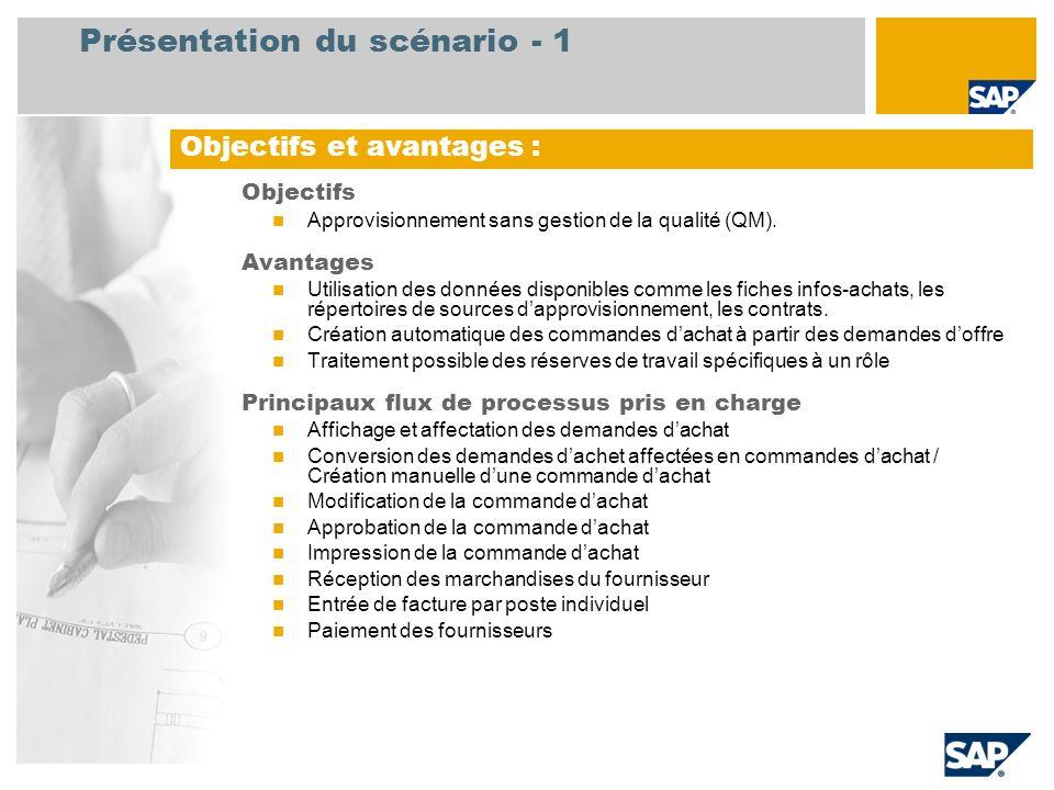 Présentation du scénario - 2 Obligatoire EHP3 for SAP ERP 6.0 Rôles utilisateurs impliqu é s dans les flux de processus Expert achat Acheteur Magasinier Comptable fournisseur Applications SAP requises :