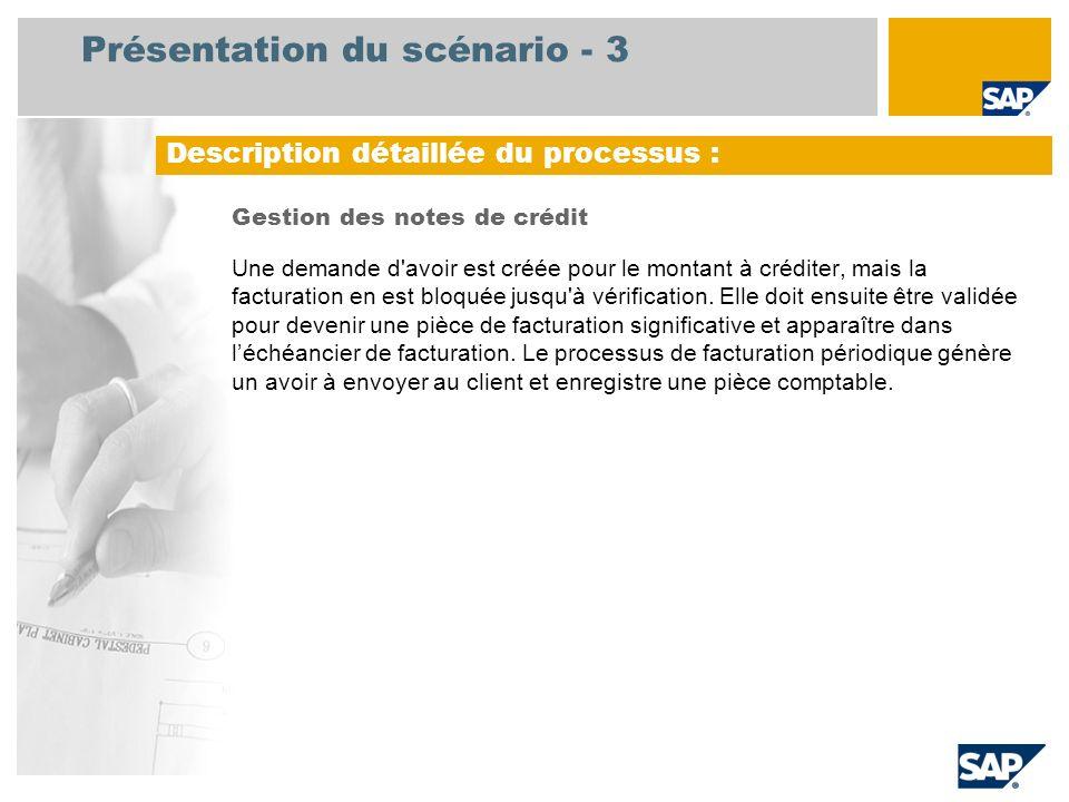 Présentation du scénario - 3 Gestion des notes de crédit Une demande d'avoir est créée pour le montant à créditer, mais la facturation en est bloquée
