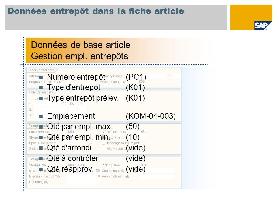 Données entrepôt dans la fiche article Données de base article Gestion empl. entrepôts Numéro entrepôt(PC1) Type d'entrepôt(K01) Type entrepôt prélèv.