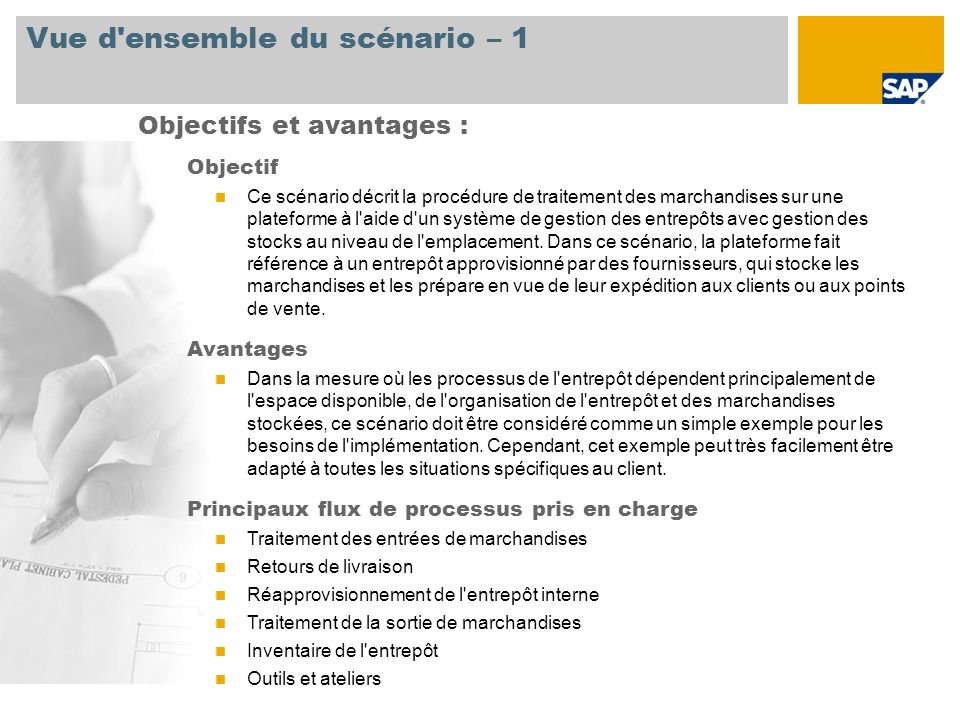 Vue d ensemble du scénario – 2 Obligatoire SAP EHP3 pour SAP ERP 6.0 Rôles de l entreprise impliqués dans les flux de processus Chef magasinier dans la distribution Commercial dans la distribution Responsable magasin dans la distribution Applications SAP requises :