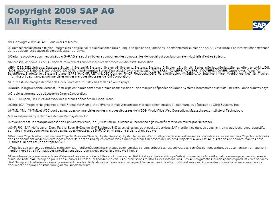 Copyright 2009 SAP AG All Rights Reserved © Copyright 2009 SAP AG. Tous droits réservés. Toute reproduction ou diffusion, intégrale ou partielle, sous