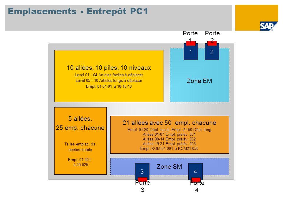 Emplacements - Entrepôt PC1 10 allées, 10 piles, 10 niveaux Level 01 - 04 Articles faciles à déplacer Level 05 - 10 Articles longs à déplacer Empl. 01