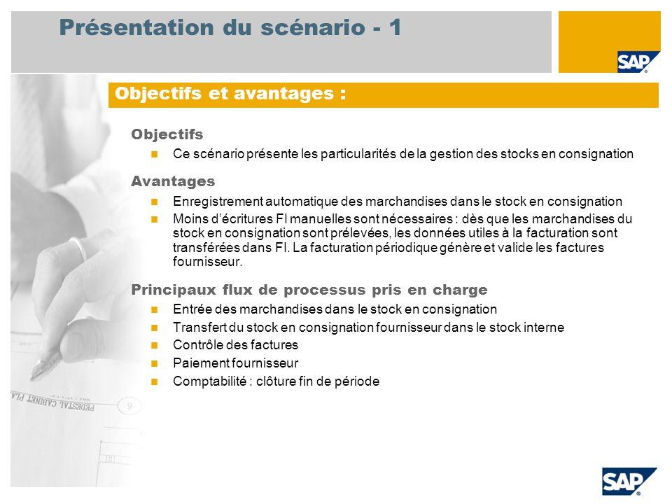 Présentation du scénario - 1 Objectifs Ce scénario présente les particularités de la gestion des stocks en consignation Avantages Enregistrement autom