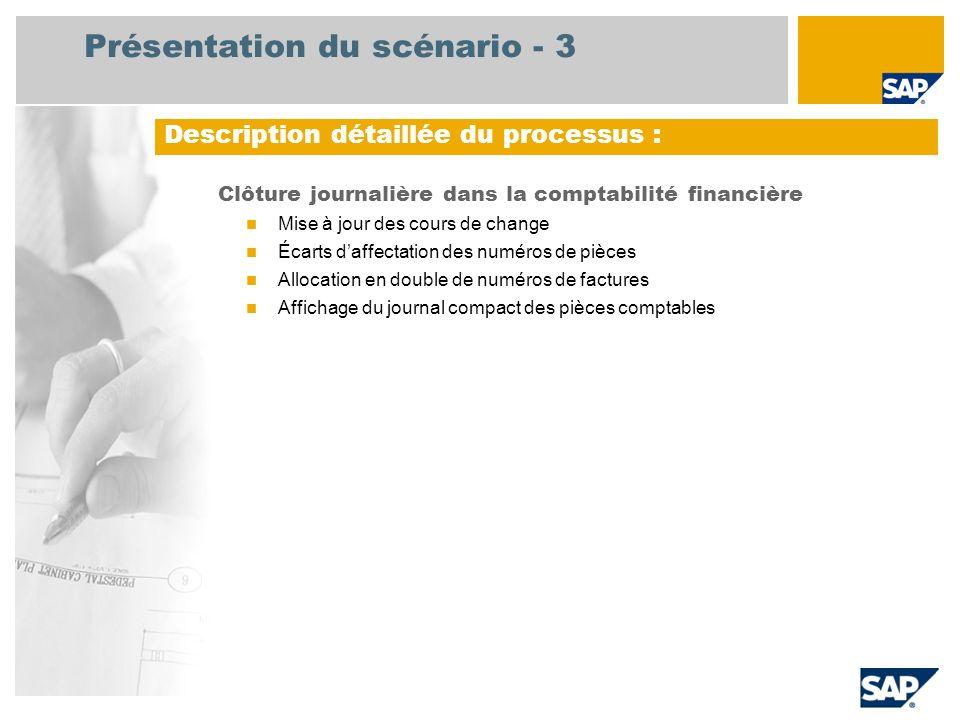 Présentation du scénario - 3 Clôture journalière dans la comptabilité financière Mise à jour des cours de change Écarts daffectation des numéros de pi